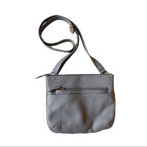 Fossil Pebbled Leather Crossbody Bag Stone Grey